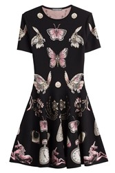 Alexander Mcqueen Intarsia Dress With Wool And Silk Black