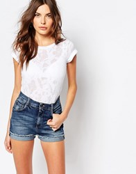 Sisley Burn Out Floral T Shirt 701 White