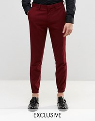 Only And Sons Skinny Cuffed Hem Trousers With Stretch Burgundy Red