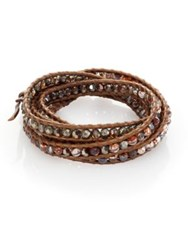 Chan Luu Abalone Labradorite Crystal And Leather Beaded Wrap Bracelet