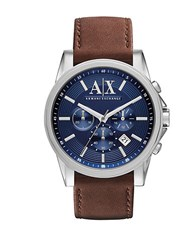 Armani Exchange Mens Leather Strap Chronograph Watch With Blue Dial Brown