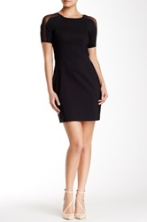 Cece By Cynthia Steffe Short Sleeve Mesh Detail Bodycon Dress Black