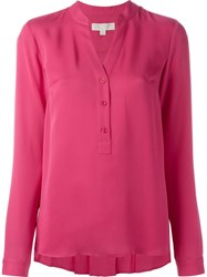 Michael Michael Kors Band Collar Blouse Pink And Purple