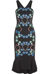 Peter Pilotto Embroidered Stretch Cady Midi Dress Black