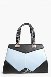 Boohoo Snake Trim Colour Block Structured Day Bag Blue