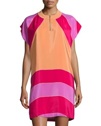 See By Chloe Colorblock Cap Sleeve Shift Dress Pink Multi