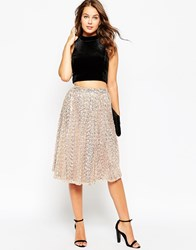 Little Mistress Full Midi Skirt In Sequins Gold