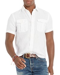 Polo Ralph Lauren Linen Twill Military Slim Fit Button Down Shirt White