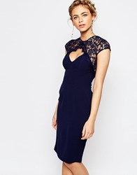 Elise Ryan Lace Midi Pencil Dress Navy