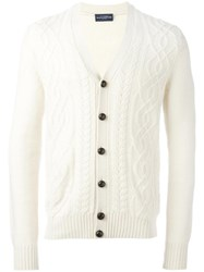 Ballantyne V Neck Cardigan White