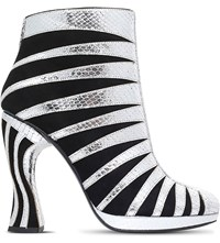Rodarte Zebra Print Leather Heeled Ankle Boots Silver