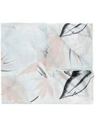 Rag And Bone Feather Print Frayed Scarf Blue