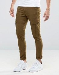 Asos Super Skinny Cargo Trousers In Khaki Dark Mustard Green