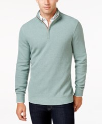 Tasso Elba Men's Honeycomb Textured Quarter Zip Sweater Only At Macy's Seaglass Heather