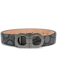 Salvatore Ferragamo All Over Double Gancini Belt Grey