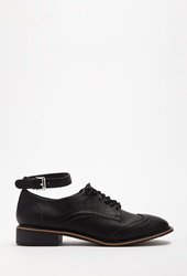 Forever 21 Faux Leather Ankle Strapped Oxfords Black