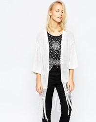 Brave Soul 3 4 Sleeve Cardigan With Tassel Detail White