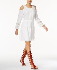 Bar Iii Embroidered Cold Shoulder Dress Only At Macy's Egret