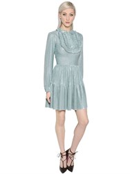 Blumarine Jersey Lame Dress With Ruffled Plastron