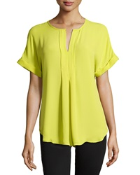 Max Studio Pleated Front Rolled Cuff Blouse Citron