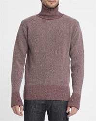 Oliver Spencer Red Ripped Stitch Crew Fine Stripe High Collar Sweater