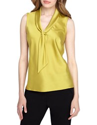 Tahari By Arthur S. Levine Sailor Tie Sleeveless Top Lime Green