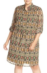 Tahari Plus Size Women's Print Band Collar Shirtdress
