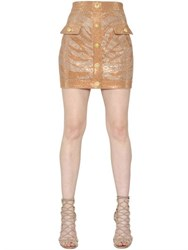 Balmain Tiger Swarovski Stretch Denim Skirt