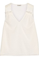 Clu Embroidered Crinkled Silk And Silk Voile Top Ivory