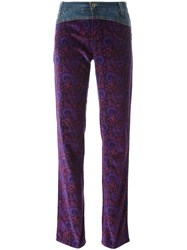 Dolce And Gabbana Vintage Denim Paisley Print Trousers Pink And Purple