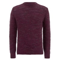 Paul Smith Jeans Men's Chunky Crew Neck Knit Jumper Damson Burgundy