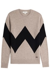 Burberry London Wool Cashmere Zigzag Pullover Beige
