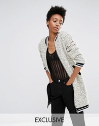 Glamorous Tall Faux Shearling Longline Bomber Jacket Grey