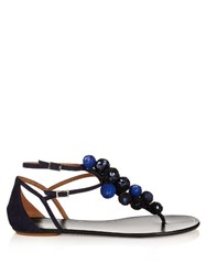 Aquazzura Disco Sequinned Pompom Suede Flat Sandals Navy Multi