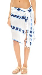 Soleil Watercolor Pareo Skirt White Blue