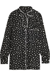 Dolce And Gabbana Pussy Bow Polka Dot Stretch Silk Crepe De Chine Blouse Black