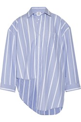 Vetements Oversized Asymmetric Striped Cotton Poplin Shirt Blue