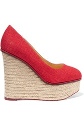 Charlotte Olympia Carmen Canvas Espadrille Wedge Sandals Red