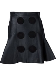 Givenchy Leather A Line Skirt Black
