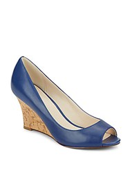 Cole Haan Lena Leather And Cork Peep Toe Wedges Twilight Blue