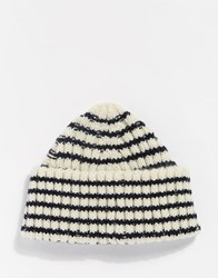 Asos Striped Beanie With Deep Turn Up Blue