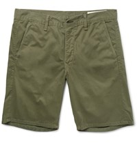 Rag And Bone Washed Cotton Twill Chino Shorts Green