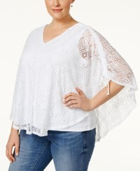 Styleandco. Style And Co. Short Sleeve Lace Poncho Blouse Only At Macy's Bright White
