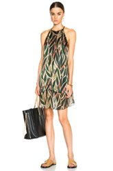 Adriana Degreas Araruta Racerback Mini Dress In Abstract Green