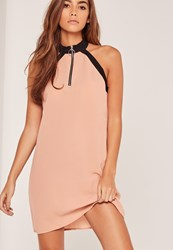 Missguided D Ring Detail Sleeveless Shift Dress Nude