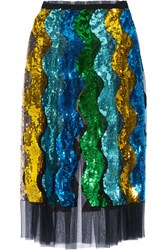 Gucci Pleated Sequined Tulle Midi Skirt Blue