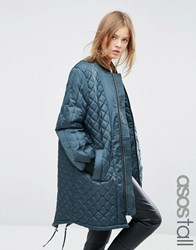 Asos Tall Longline Quilted Jacket Airforce Blue Green