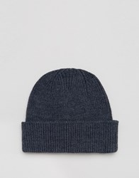 Asos Fisherman Beanie In Denim Denim Blue