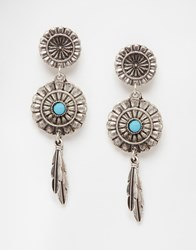 Asos Dreamcatcher Feather Earrings Turquoise Blue