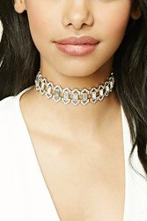 Forever 21 Faux Gem Rhinestone Choker Antique Gold Clear